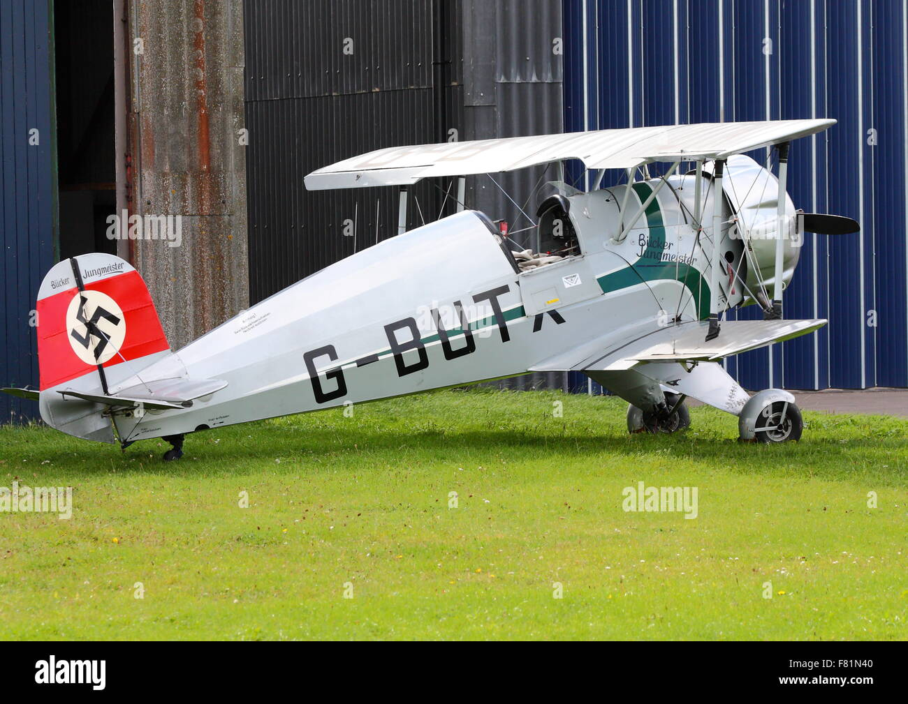 Buecker Jungmeister G-BUTX parked at White Waltham Airfield - Stock Image