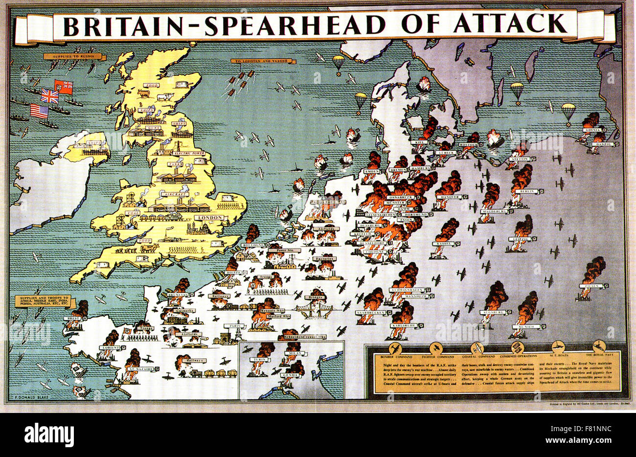 BRITAIN - SPEARHEAD OF ATTACK  British poster published in 1943 showing a busy industrialised Britian supporting - Stock Image