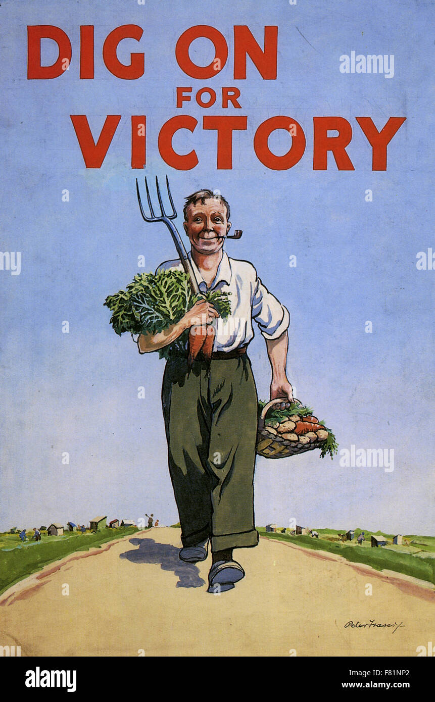 DIG ON FOR VICTORY WW2 British Ministry of Agriculture poster designed about 1944 by Peter Fraser. Part of a Dig - Stock Image
