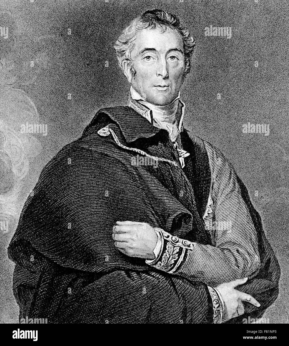 ARTHUR WELLESLEY, 1st Duke of Wellington (1769-1852) engraving about 1825 - Stock Image