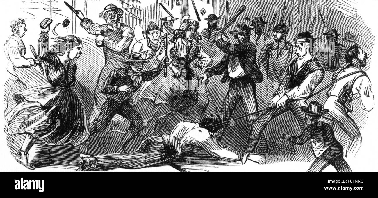 NEW YORK CITY DRAFT RIOTS 13-16 JULY 1863. Colonel Henry O'Brien is murdered by the mob - Stock Image