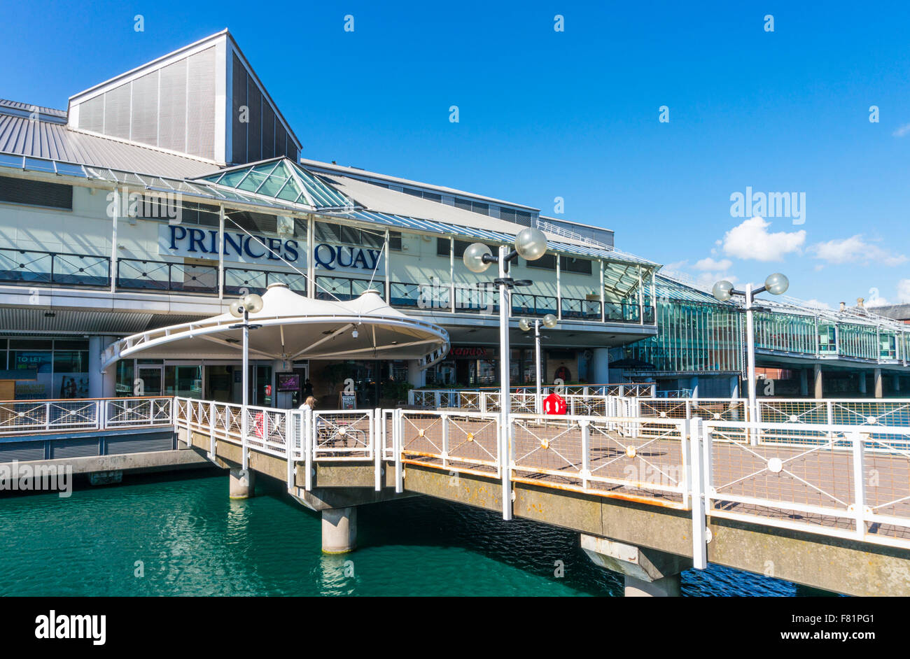 Exterior entrance to Prince's Quay shopping centre built over Prince's dock Kingston upon Hull Yorkshire - Stock Image