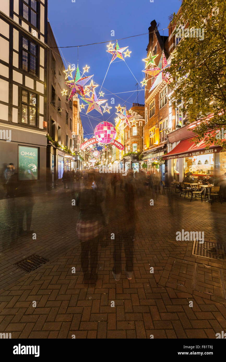 Carnaby Street and its christmas decoration, London, UK - Stock Image