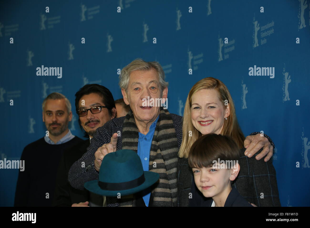 Berlin, Germany, February 8, 2015: Film cast of Mr  Holmes during