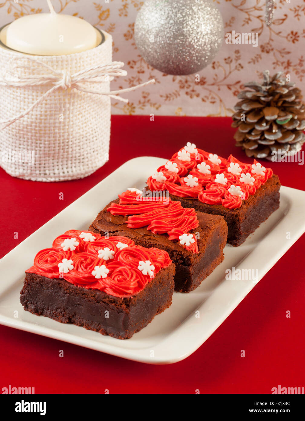 Image Chocolate Cake On Red And Green Table Cloth