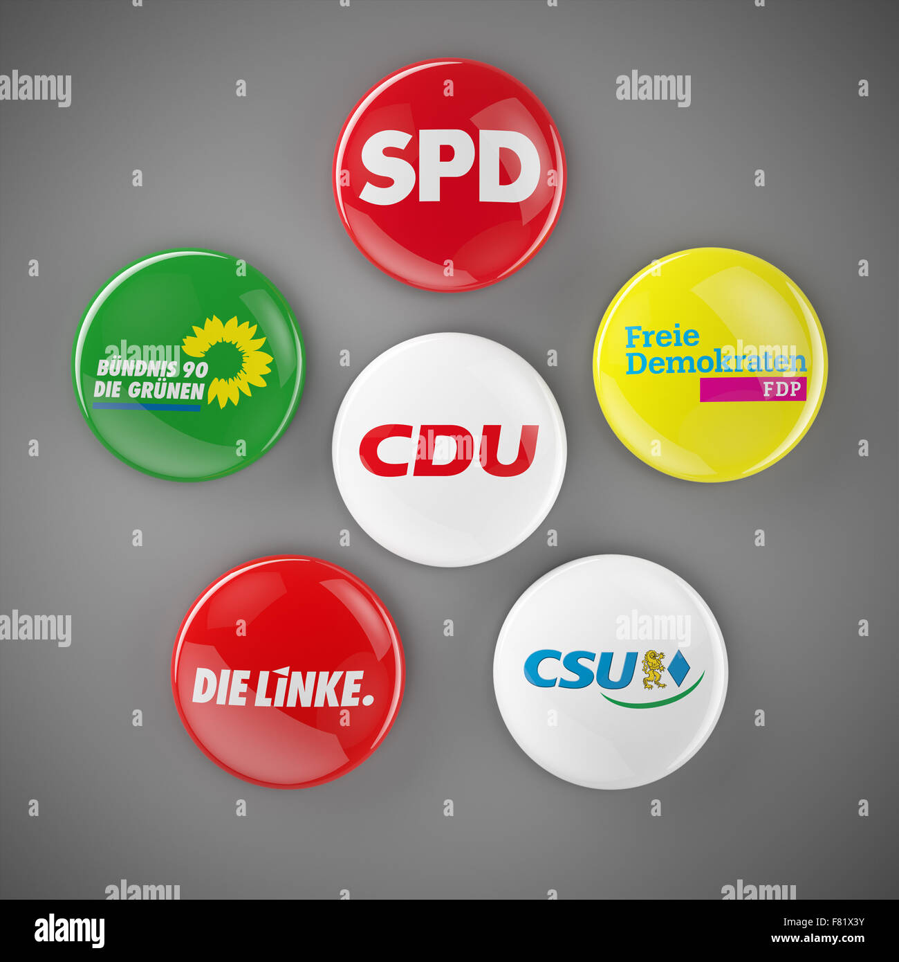 Buttons of the pöitical groups of the German Bundestag showing the SPD, CDU, Die Gruenen, FDP, Die Linke and - Stock Image