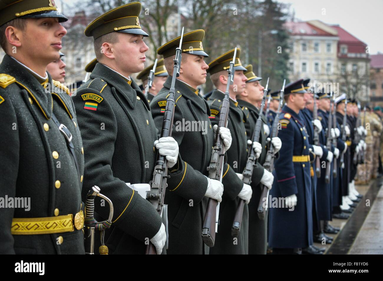 Lithuanian troops stand in formation during Lithuanian Armed Forces Day Parade in Cathedral Square November 23, - Stock Image