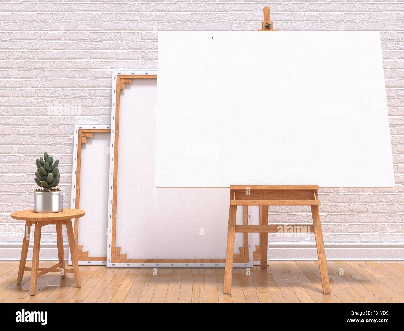 Mock up canvas frame with plant, easel, floor and wall. 3D render ...