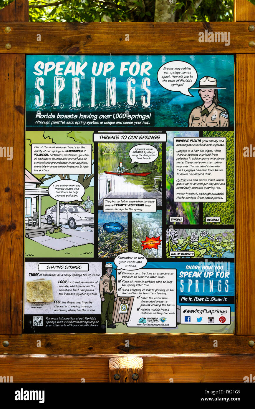 Speak Up For Springs newspaper posted at the Homosassa Springs Wildlife State Park in Florida - Stock Image