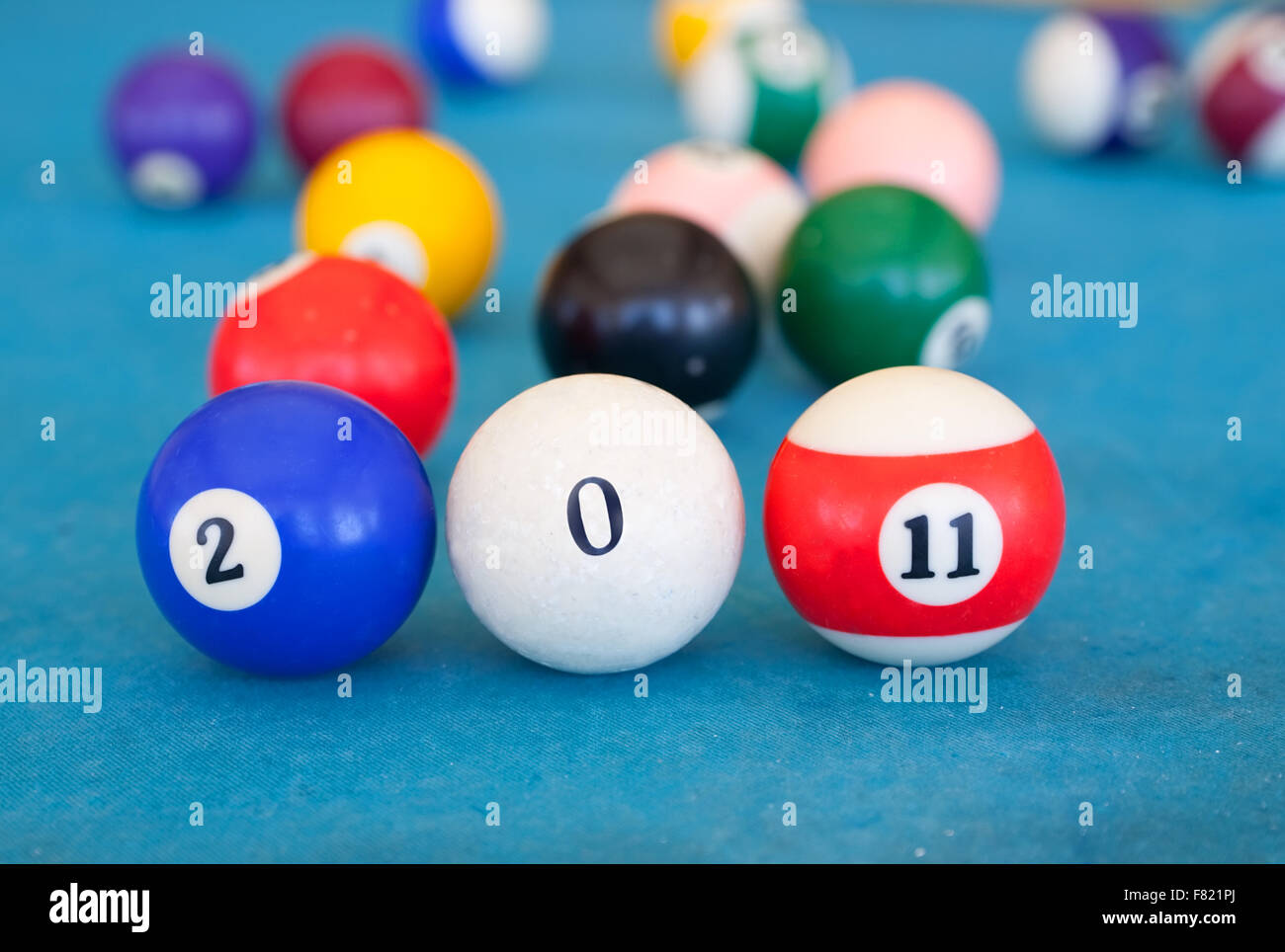 billiard-ball are shown numerals in creative greeting card 2011 with New Year - Stock Image