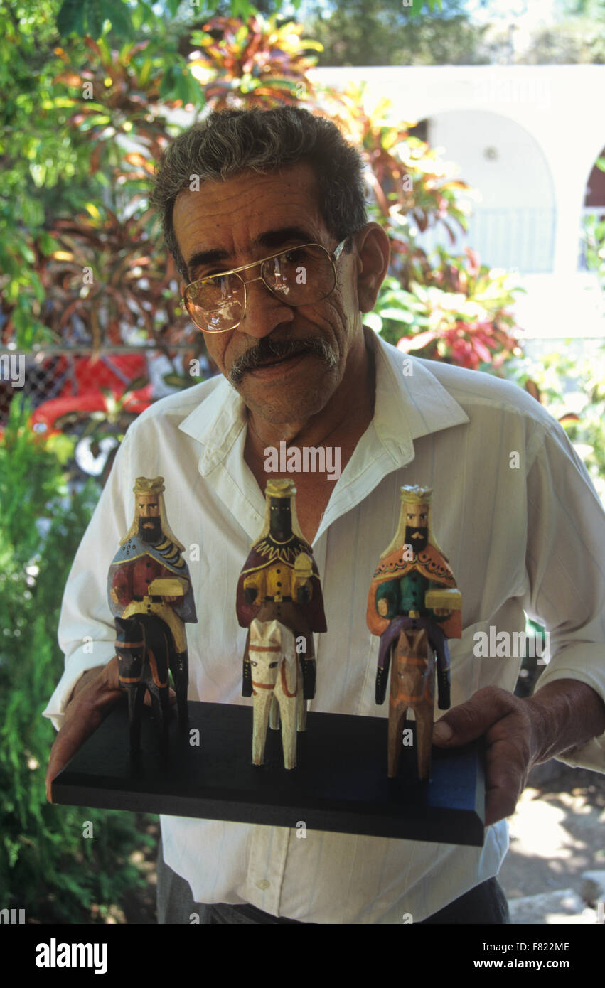 Woodcarver With His Handicrafts Near Ponce Puerto Rico Caribbean