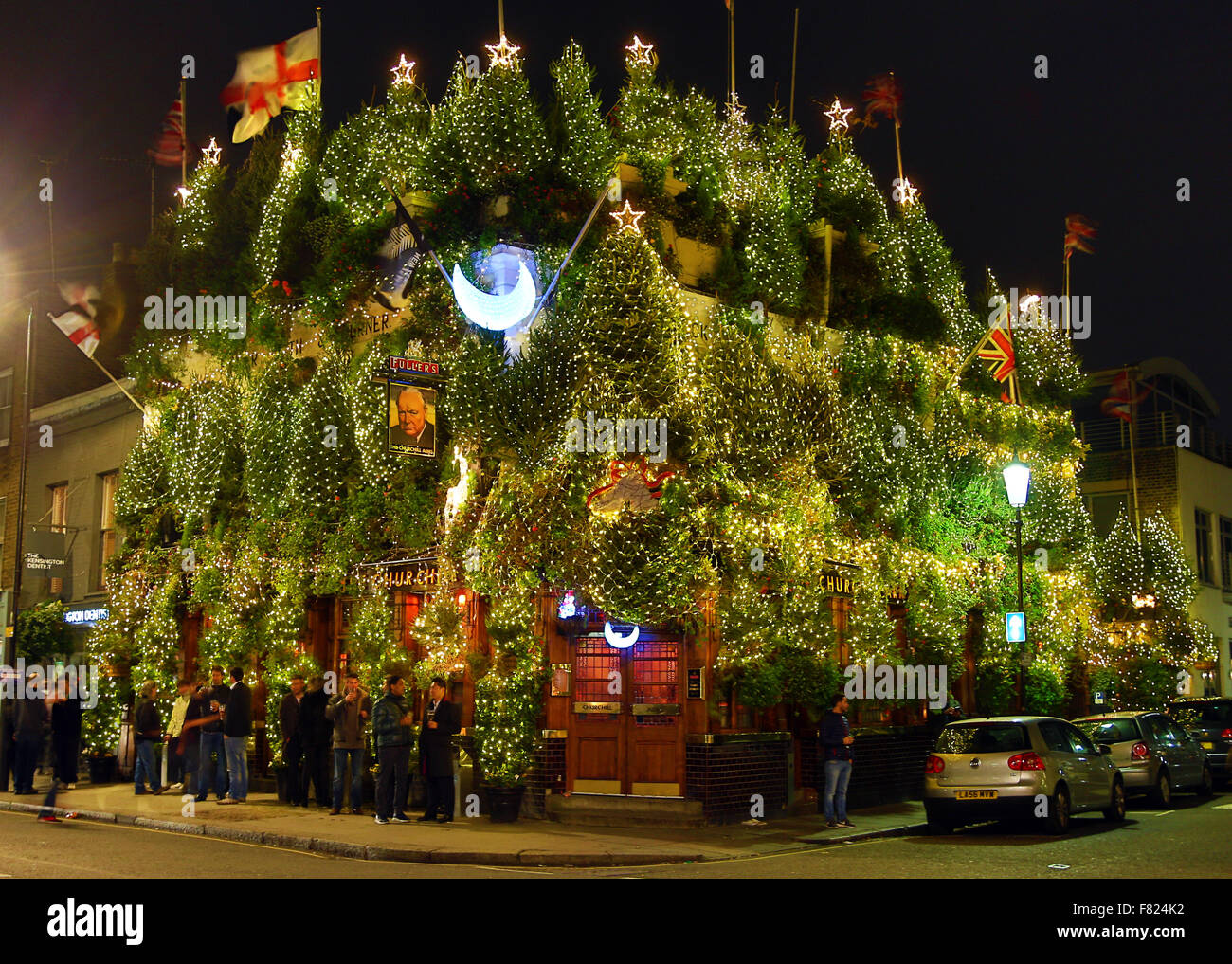 London Uk 4th December 2015 The Churchill Arms Pub Has Been Stock Photo Alamy
