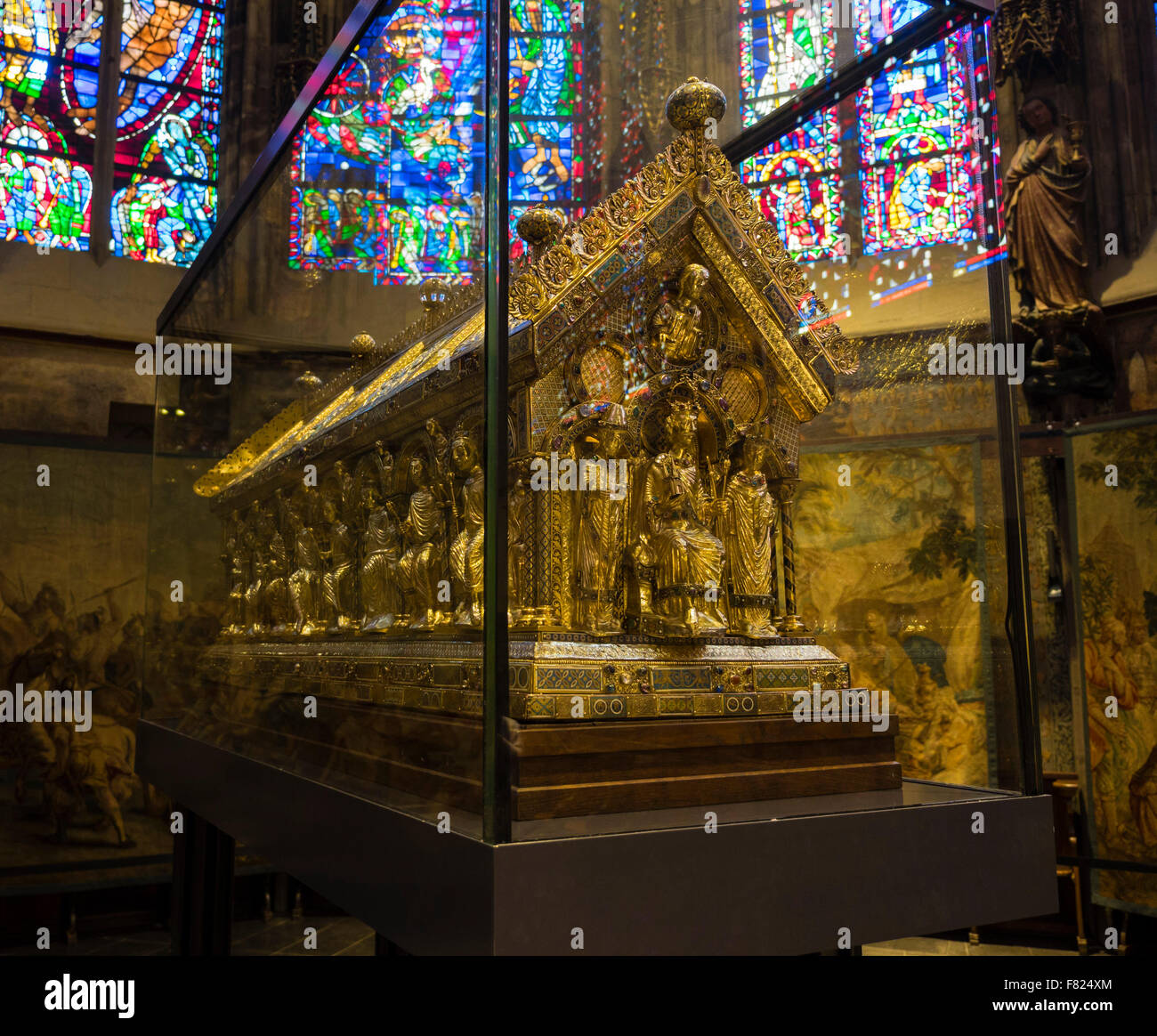 The Shrine of Charlemagne in the Aachen (Aix-La-Chapelle) cathedral. - Stock Image