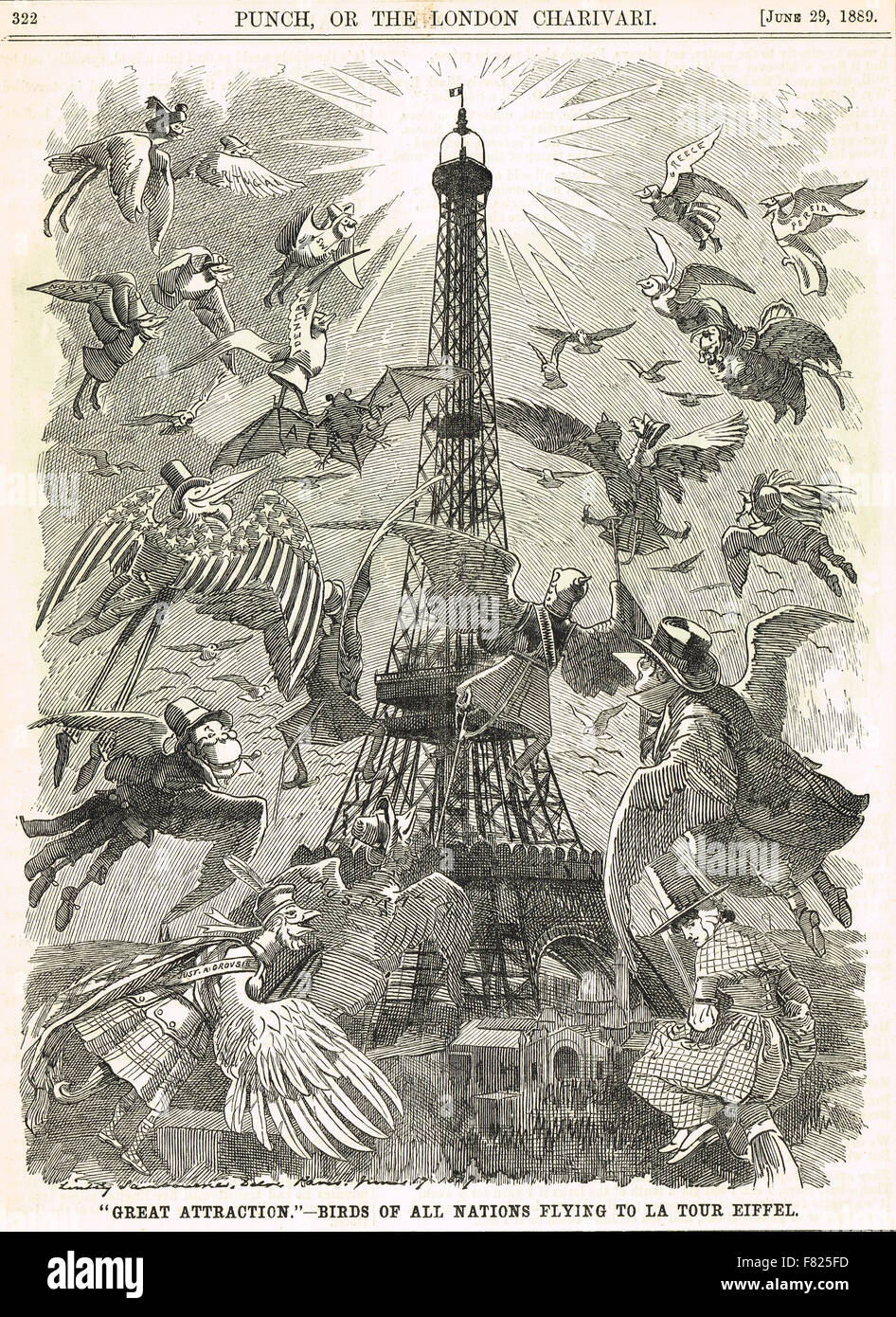Eiffel Tower World's Fair 1889 engraving - Stock Image