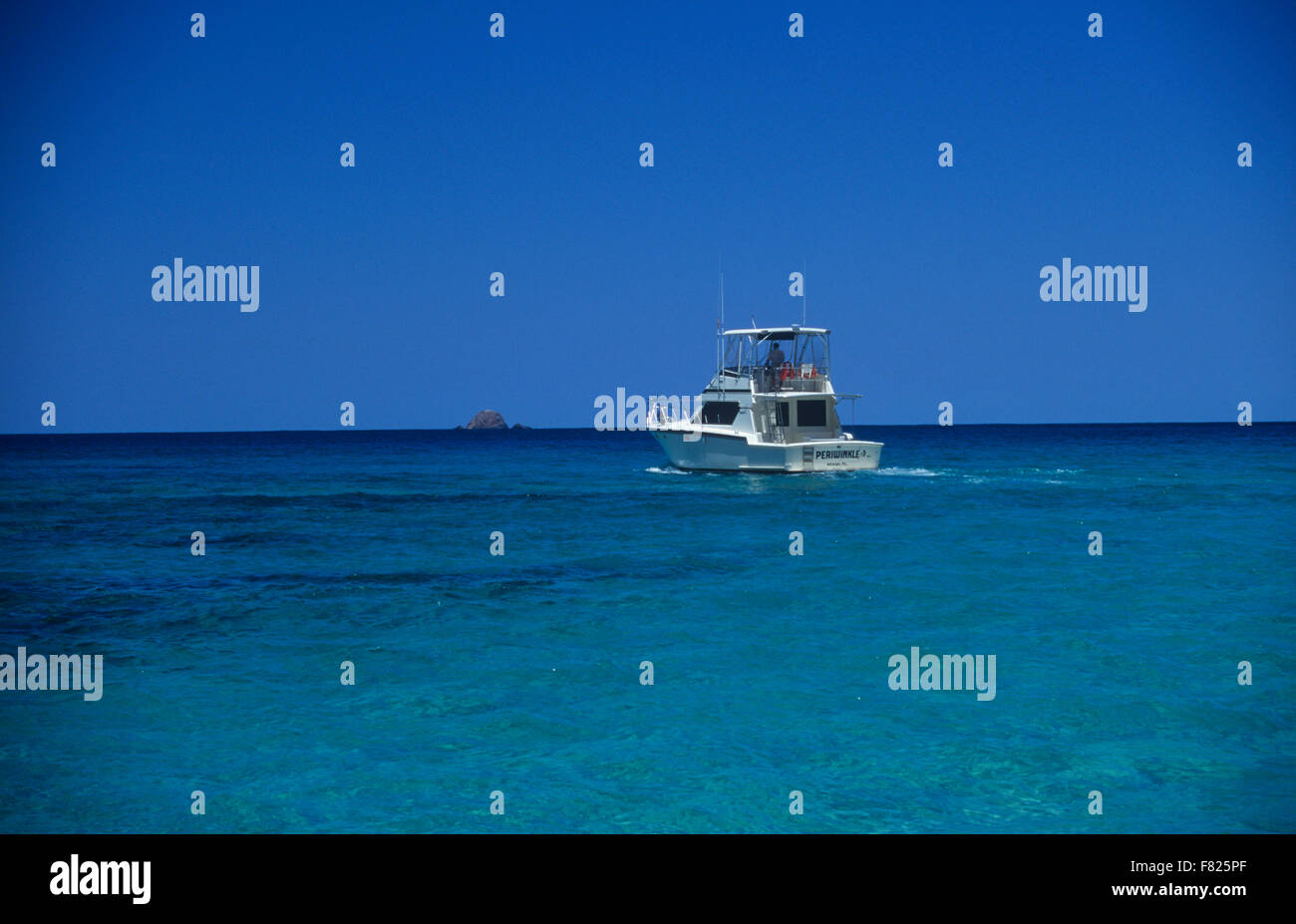 A sportfishing boat off Culebra Island, Puerto Rico. Stock Photo