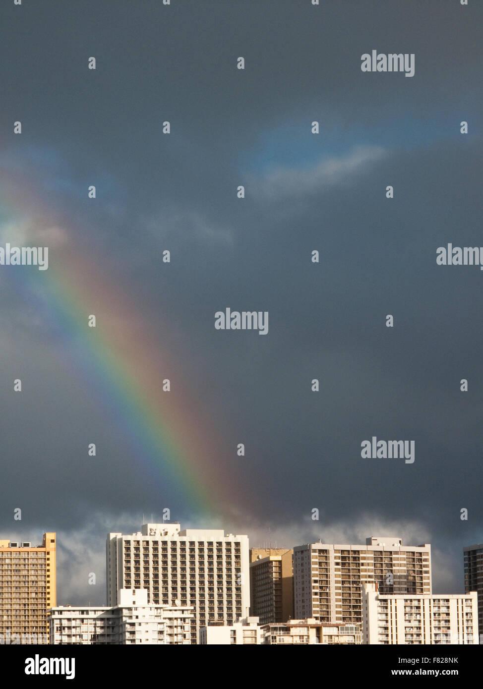 Rainbow, Oahu, Hawaii - Stock Image