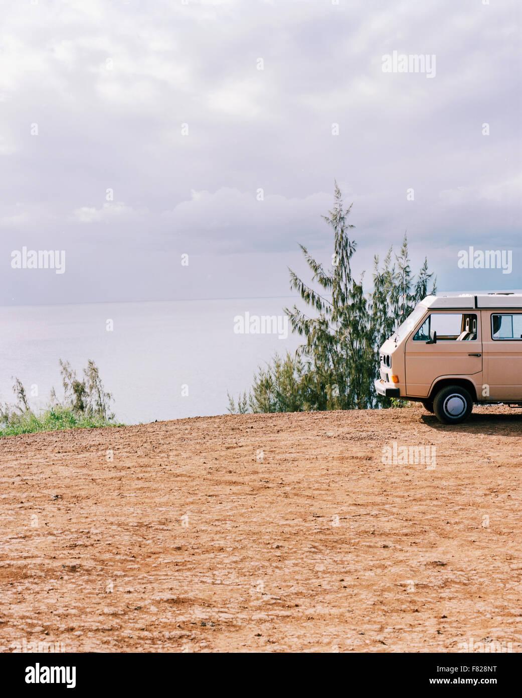 VW Camper at coast - Stock Image