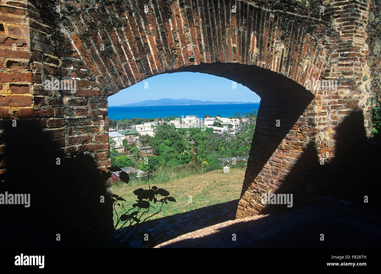 View of the town of Isabel Segunda from Fortin Conde de Mirasol, Vieques Island, Puerto Rico. Stock Photo