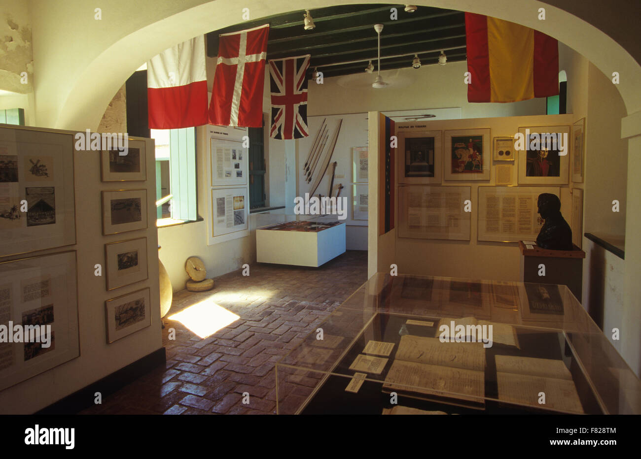 Exhibit at Fortin Conde de Mirasol (last fort built by Spain in the New World), Isabel Segunda, Vieques Island, Stock Photo