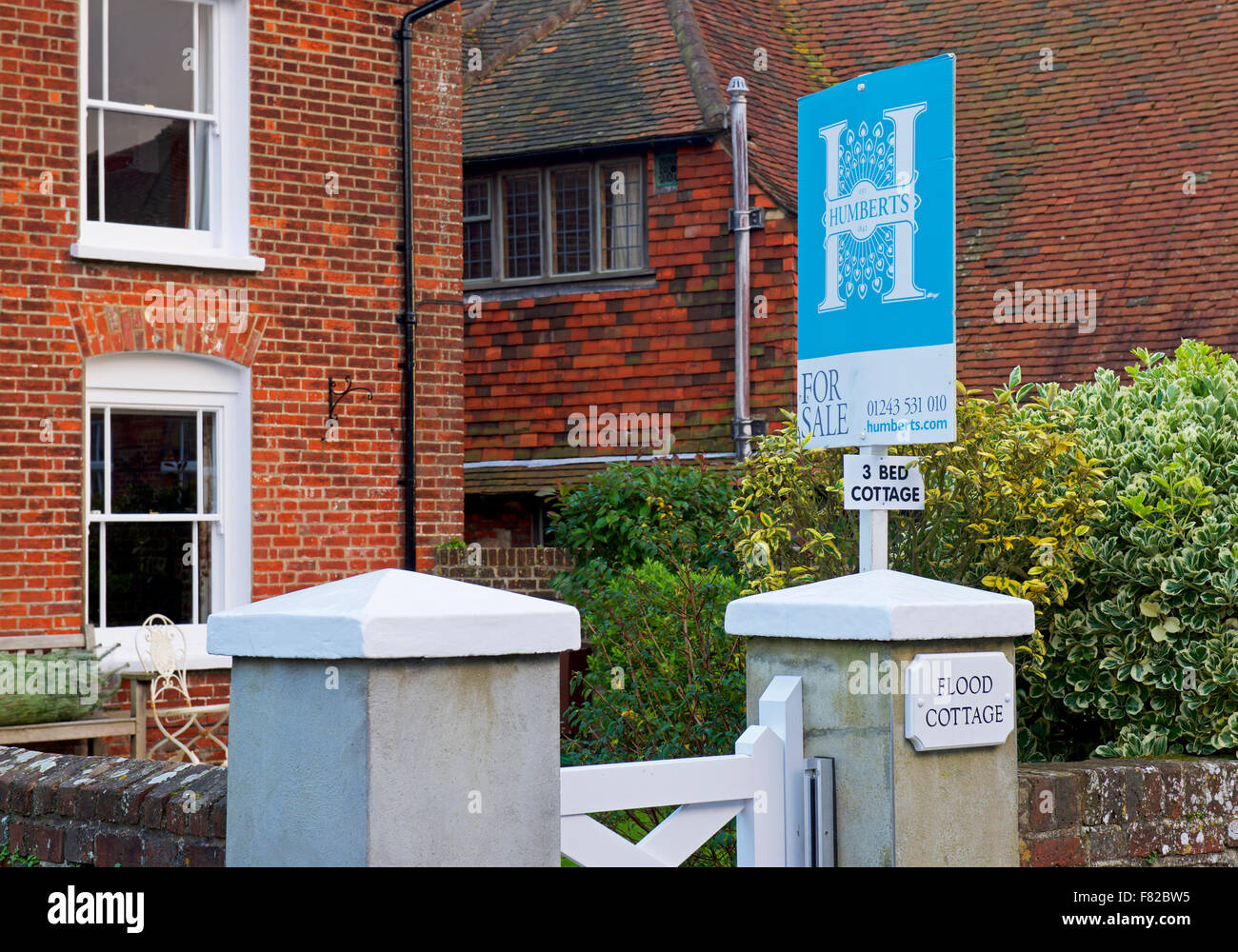 Flood Cottage for sale, in the village of Bosham, Sussex, England UK - Stock Image