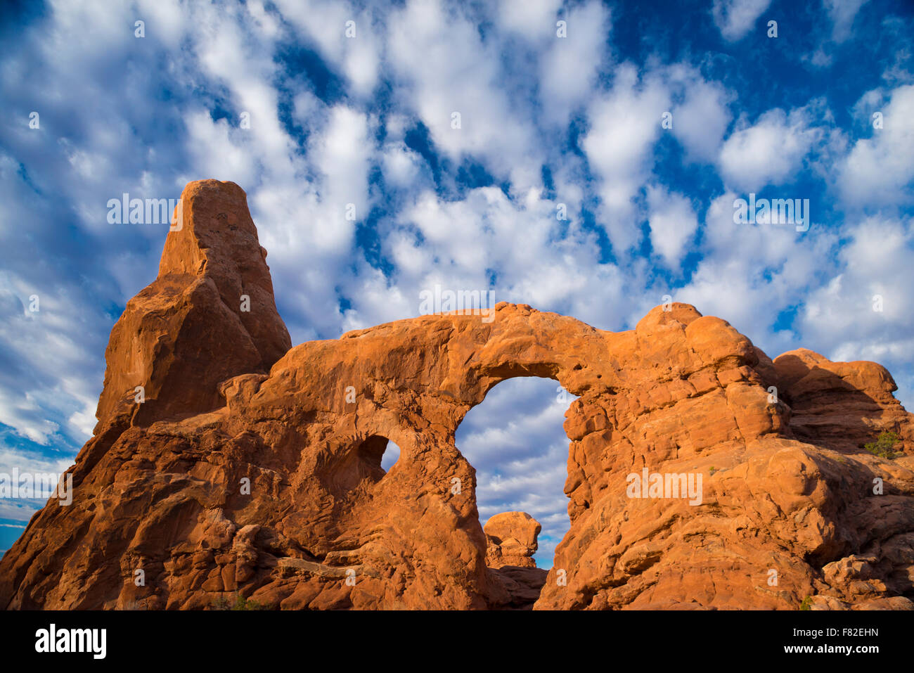 Morning clouds at Turret Arch, Arches National Park, Utah, Windows Section - Stock Image