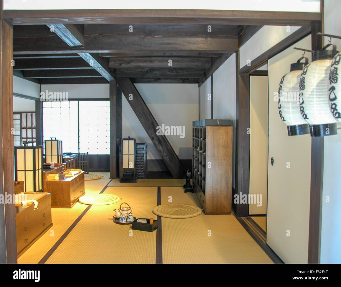 A display of an historical room with tatami mat floors. - Stock Image