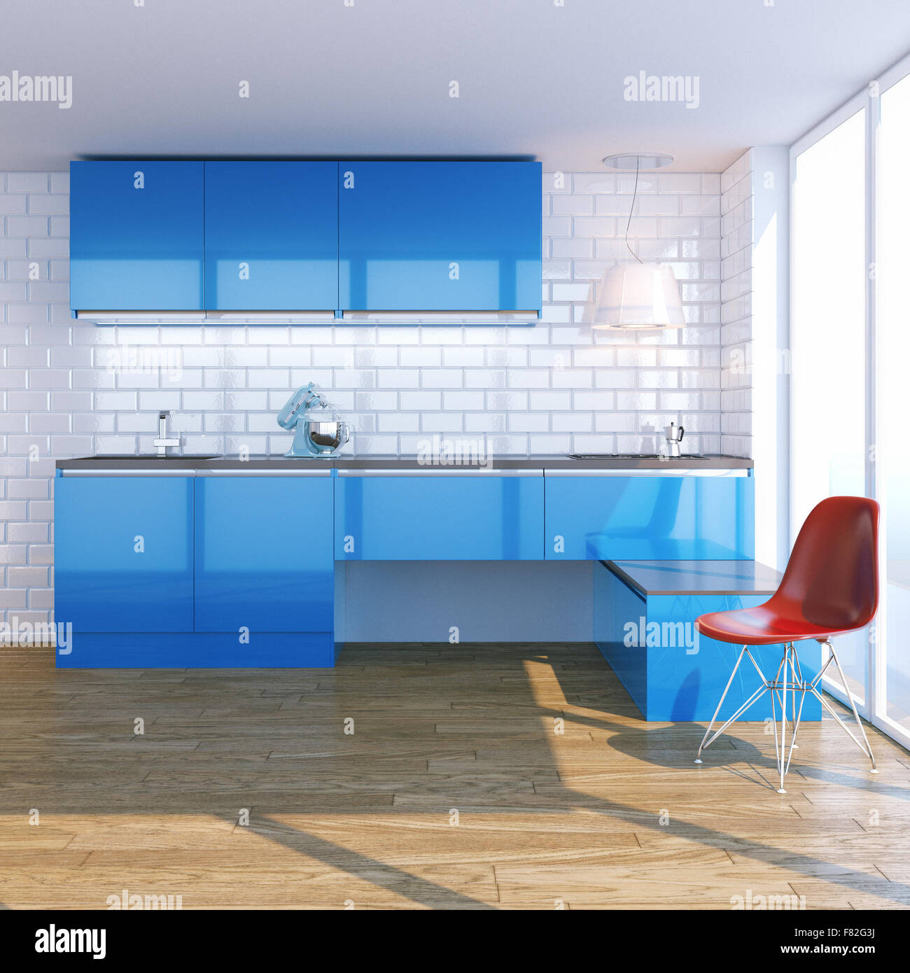 New contemporary blue kitchen furniture in white interior with Stock ...