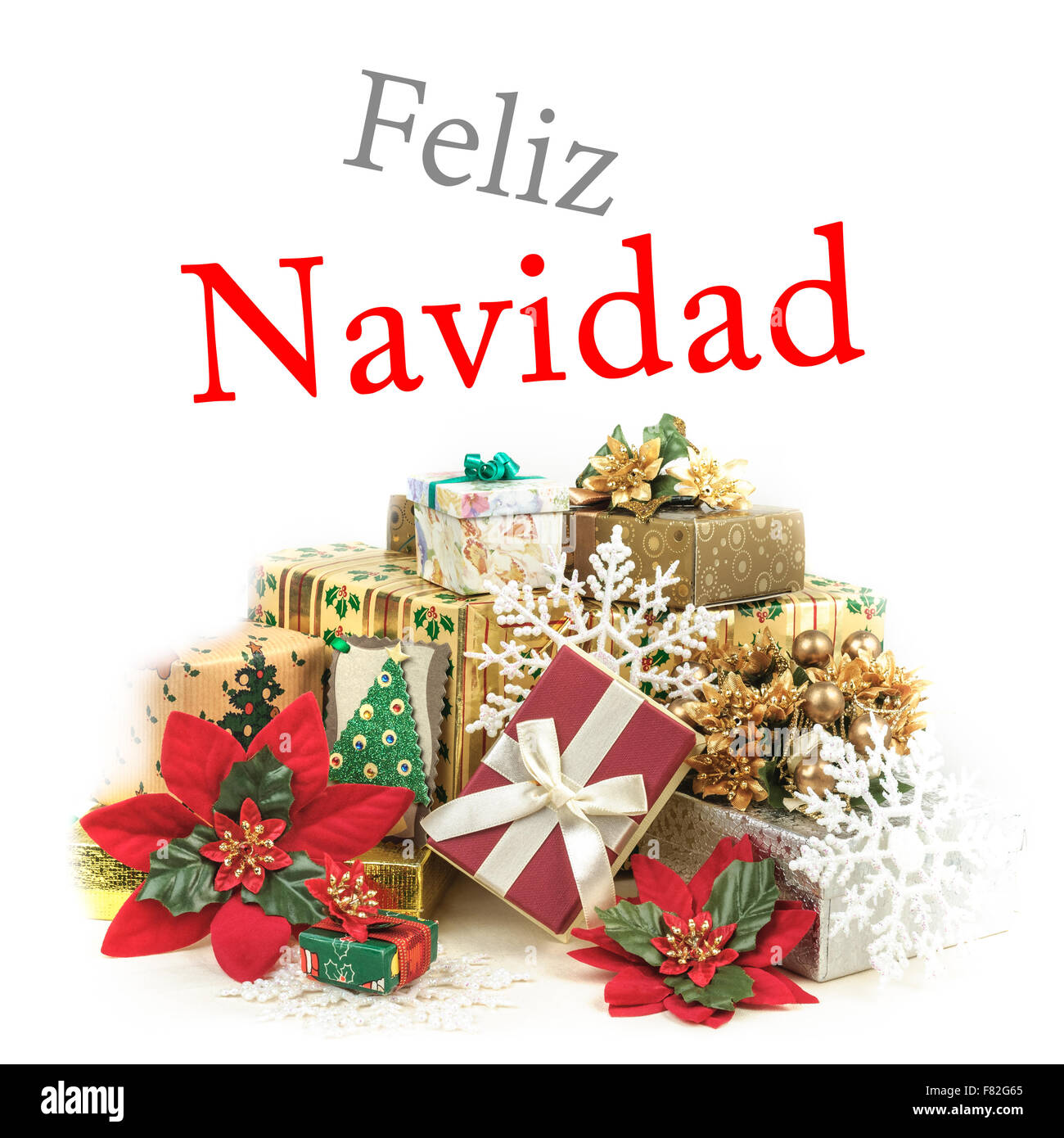 Christmas Wishes In Spanish.Greeting Card In Spanish Stock Photos Greeting Card In