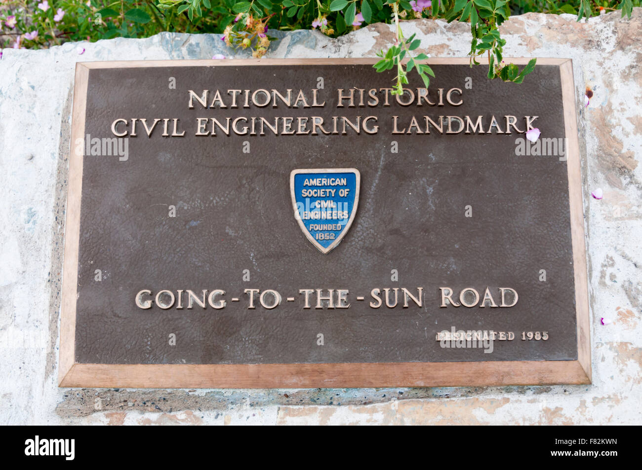 Plaque recording designation of Going-To-The-Sun Road in Glacier National Park as National Historic Civil Engineering - Stock Image