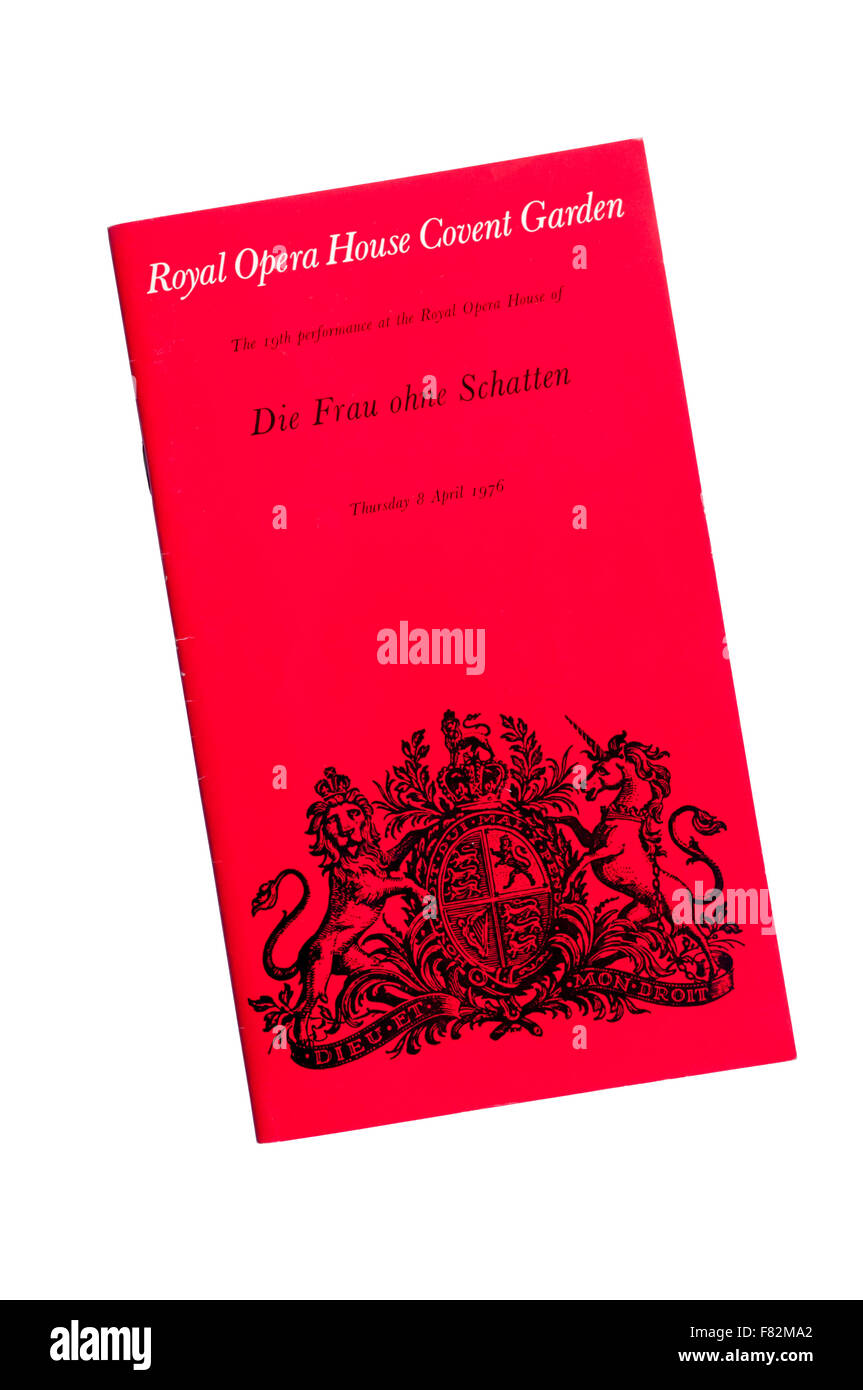Programme for the 1976 production of Die Frau ohne Schatten by Richard Strass at The Royal Opera House Covent Garden. - Stock Image