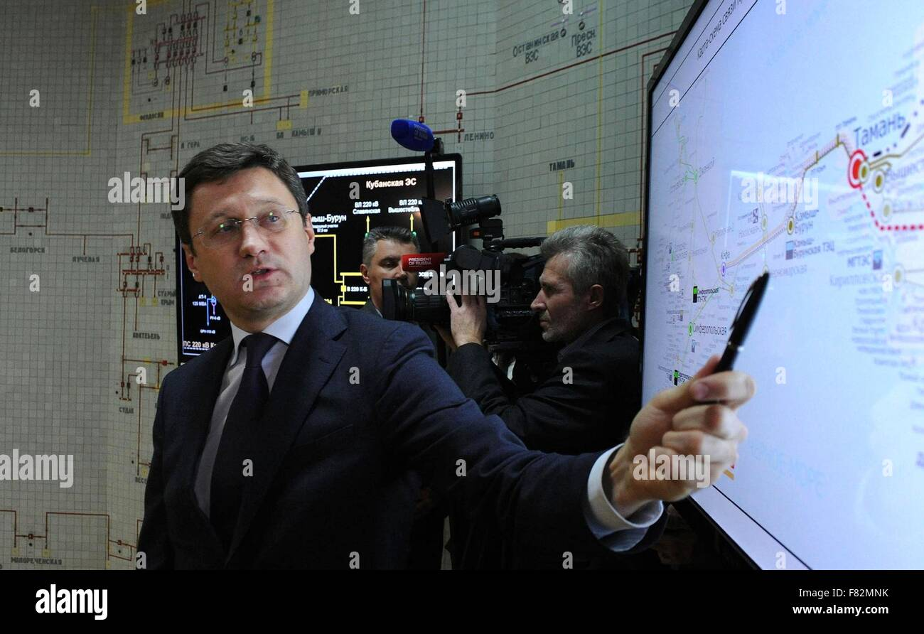Russian Energy Minister Alexander Novak explains the first stage of connecting Crimea directly to the Russia power - Stock Image