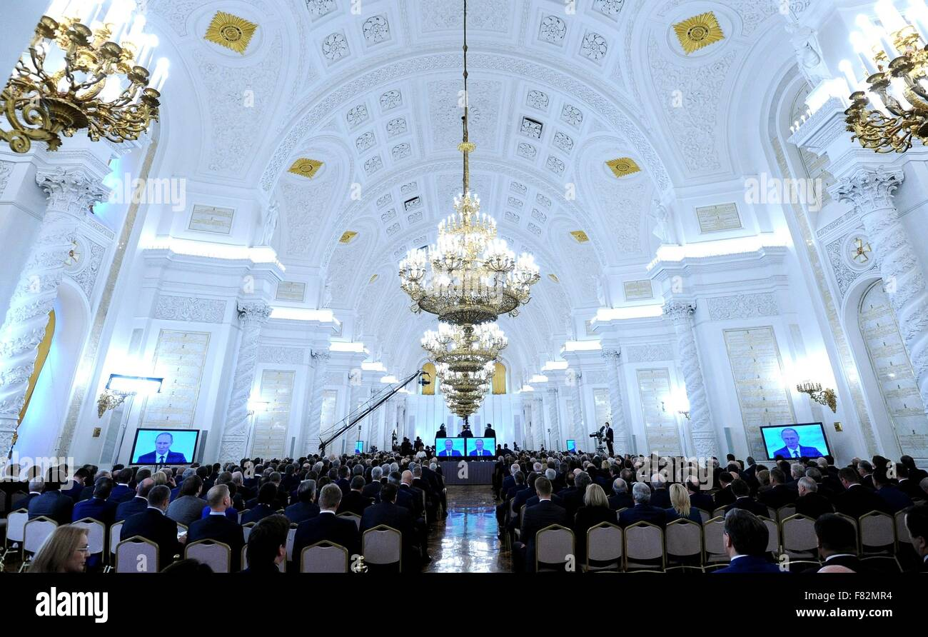 Russian President Vladimir Putin gives the Presidential Address to the Federal Assembly at St. George Hall in the - Stock Image