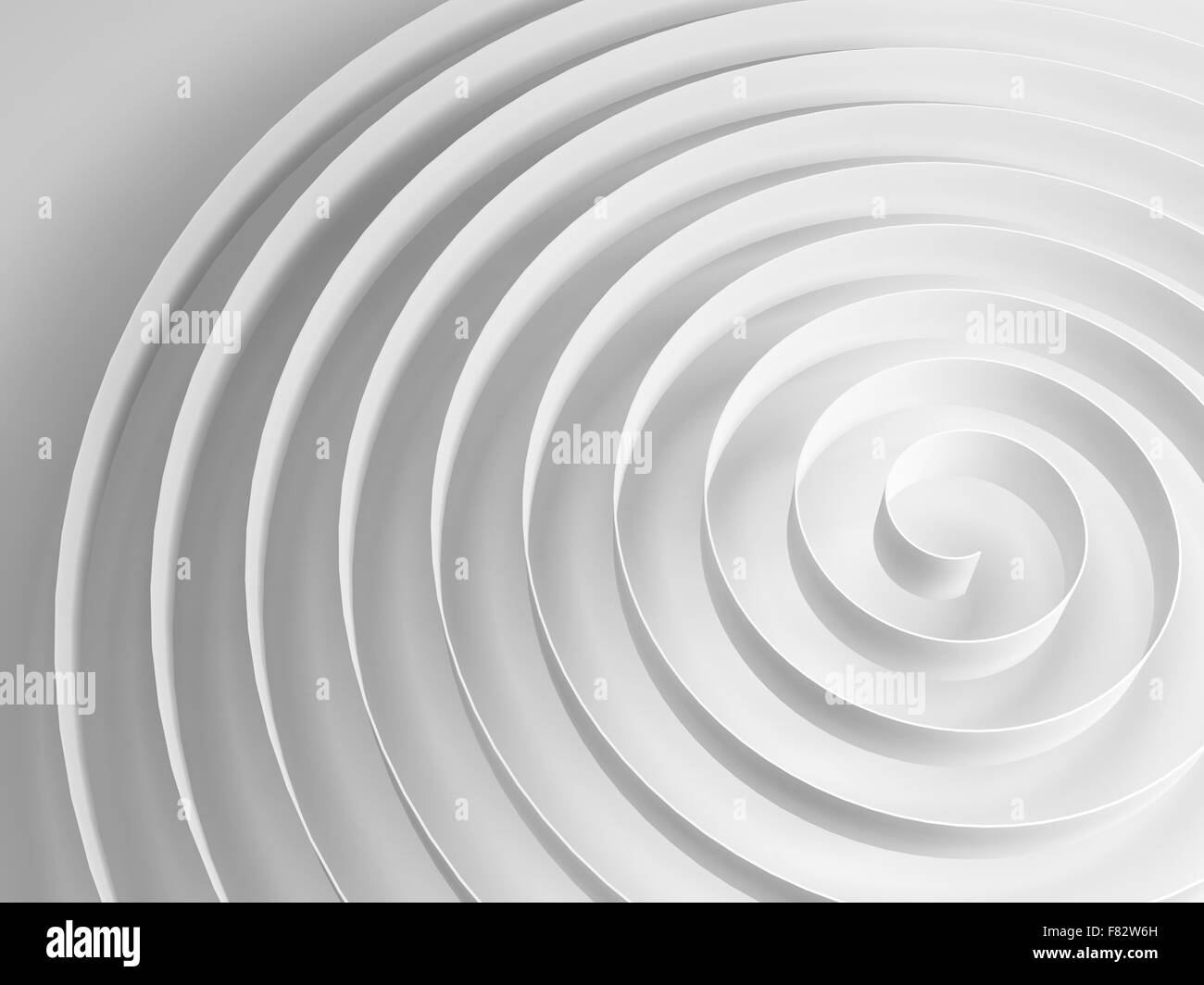 White 3d spiral with soft gray shadow, abstract digital illustration, background pattern - Stock Image