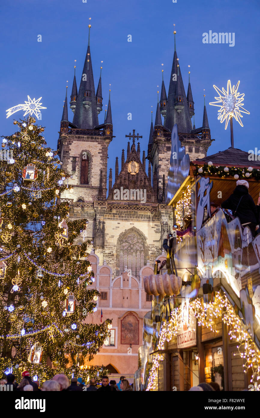 Prague Christmas Market.Prague Christmas Market And Christmas Tree On Old Town