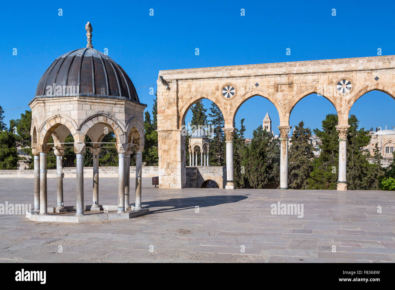 Various structures and cupolas on the Temple Mount in Jerusalem, Israel, Middle East. - Stock Image
