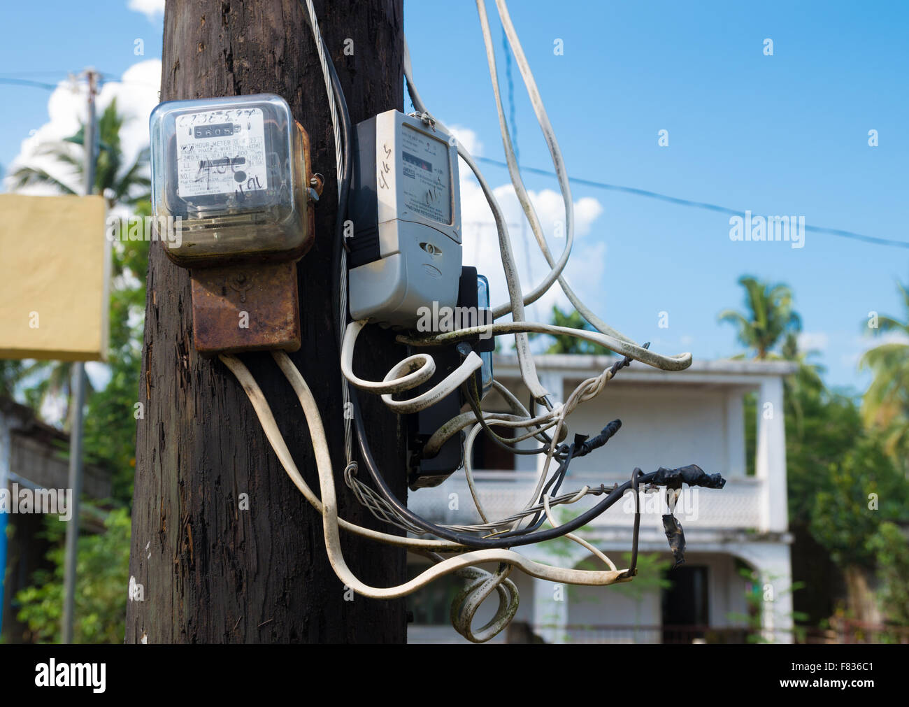 SIPOCOT, PHILIPPINES - MAY 27, 2015: Outdoor power usage meter on a schoolyard of an elementary school - Stock Image