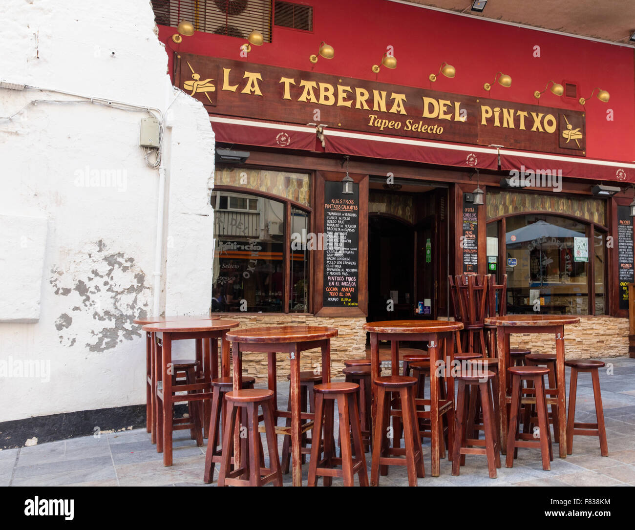 Outside a typical Spanish looking tapas bar in Marbella in Spain ...