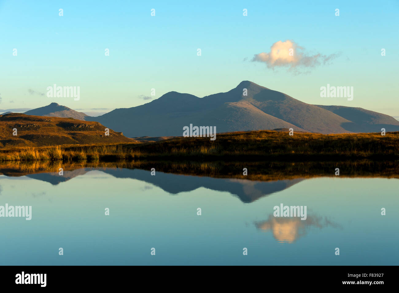 Beinn Fhada, A' Chioch and Ben More from Lochan nan Daoine on Beinn Bhuidhe, Isle of Mull, Argyll and Bute, - Stock Image