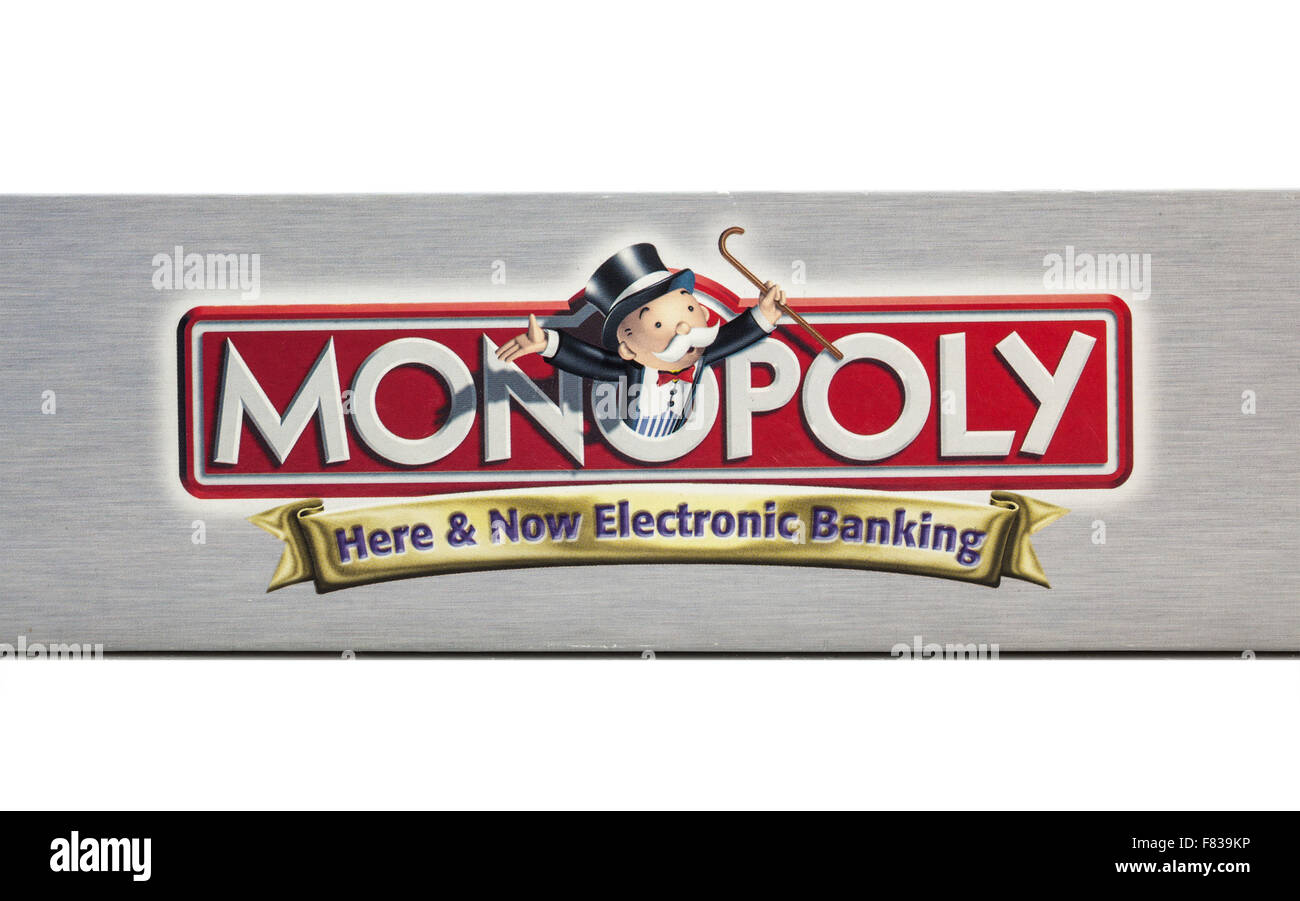 Outside of box showing the logo of Monopoly Electronic banking board game by Hasbro. - Stock Image