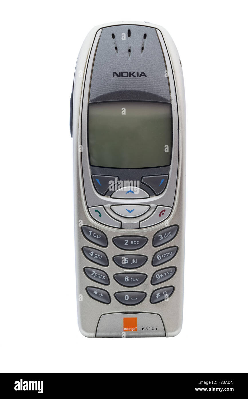 A vintage Nokia 6310 Mobile Phone. Nokia is a Finnish communications and information technology - Stock Image