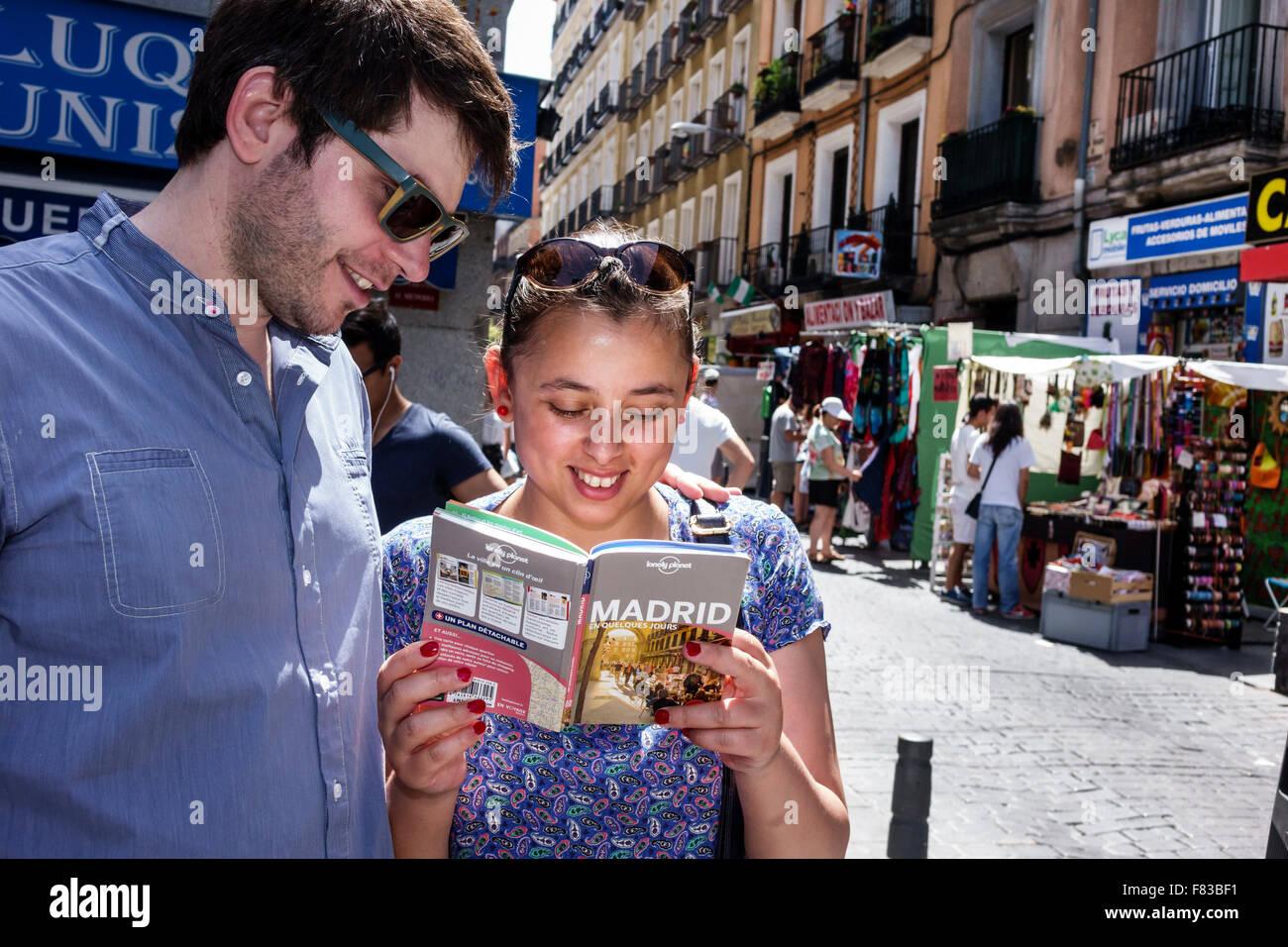 Spain Europe Spanish Hispanic Madrid Barrio de La Latina el Rastro flea market Plaza de Cascorro Ribera de Curtidores - Stock Image