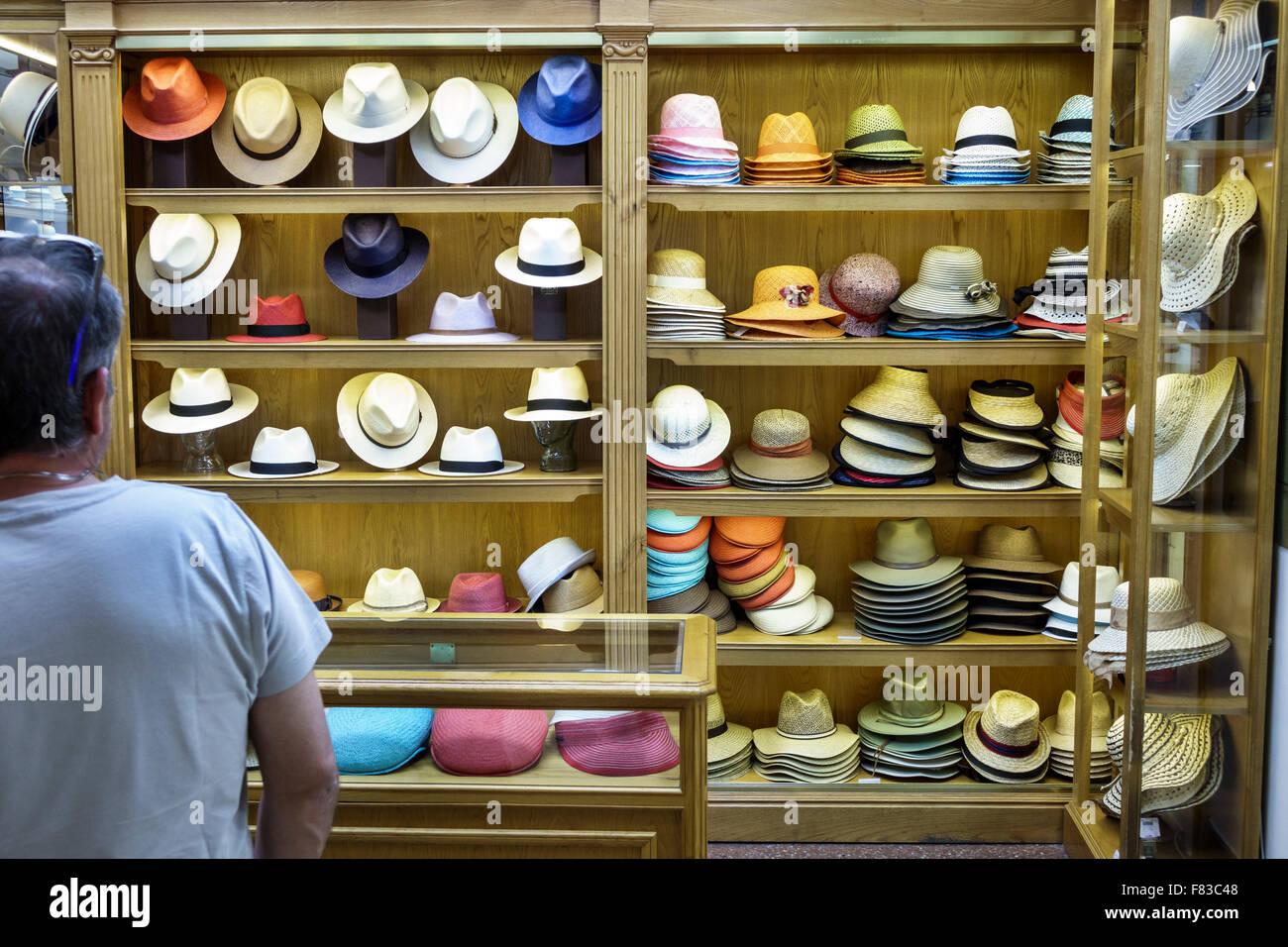 Spain Europe Spanish Hispanic Madrid Centro Plaza Mayor hat shop millinery  shelves sale display fedoras Panama fashion hats shopping b2e2b117c8f