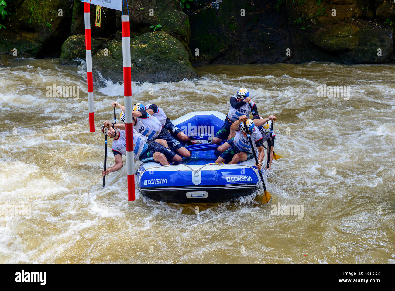 Citarik River, West Java, Indonesia. December 5, 2015.  Argentina open men slalom team during World Rafting Championship - Stock Image