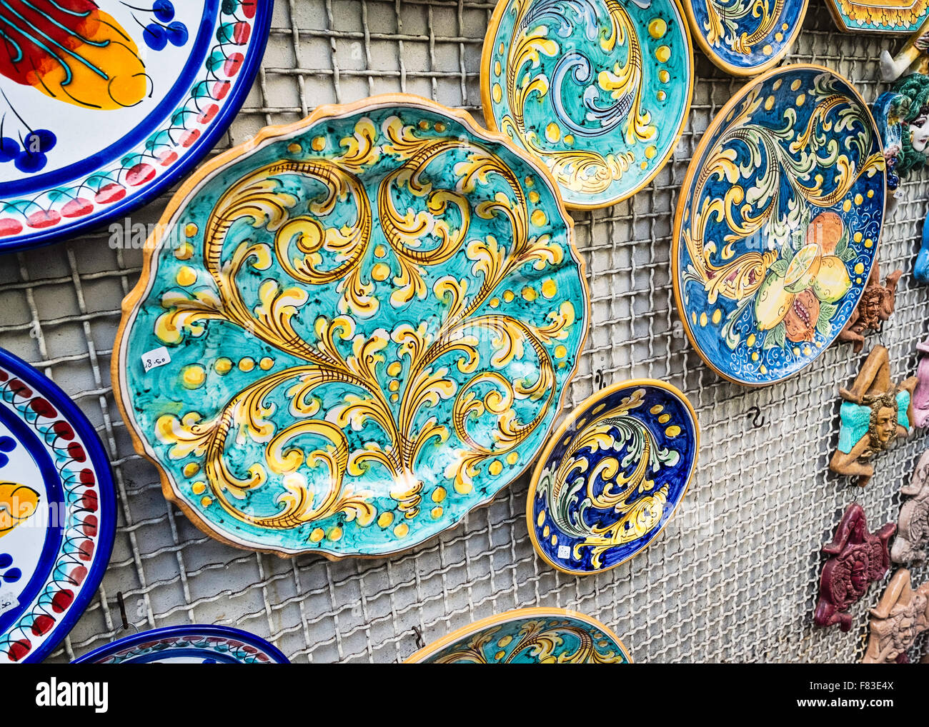 Sicilian plates on a market stall wall Taormina Sicily & Sicilian plates on a market stall wall Taormina Sicily Stock Photo ...