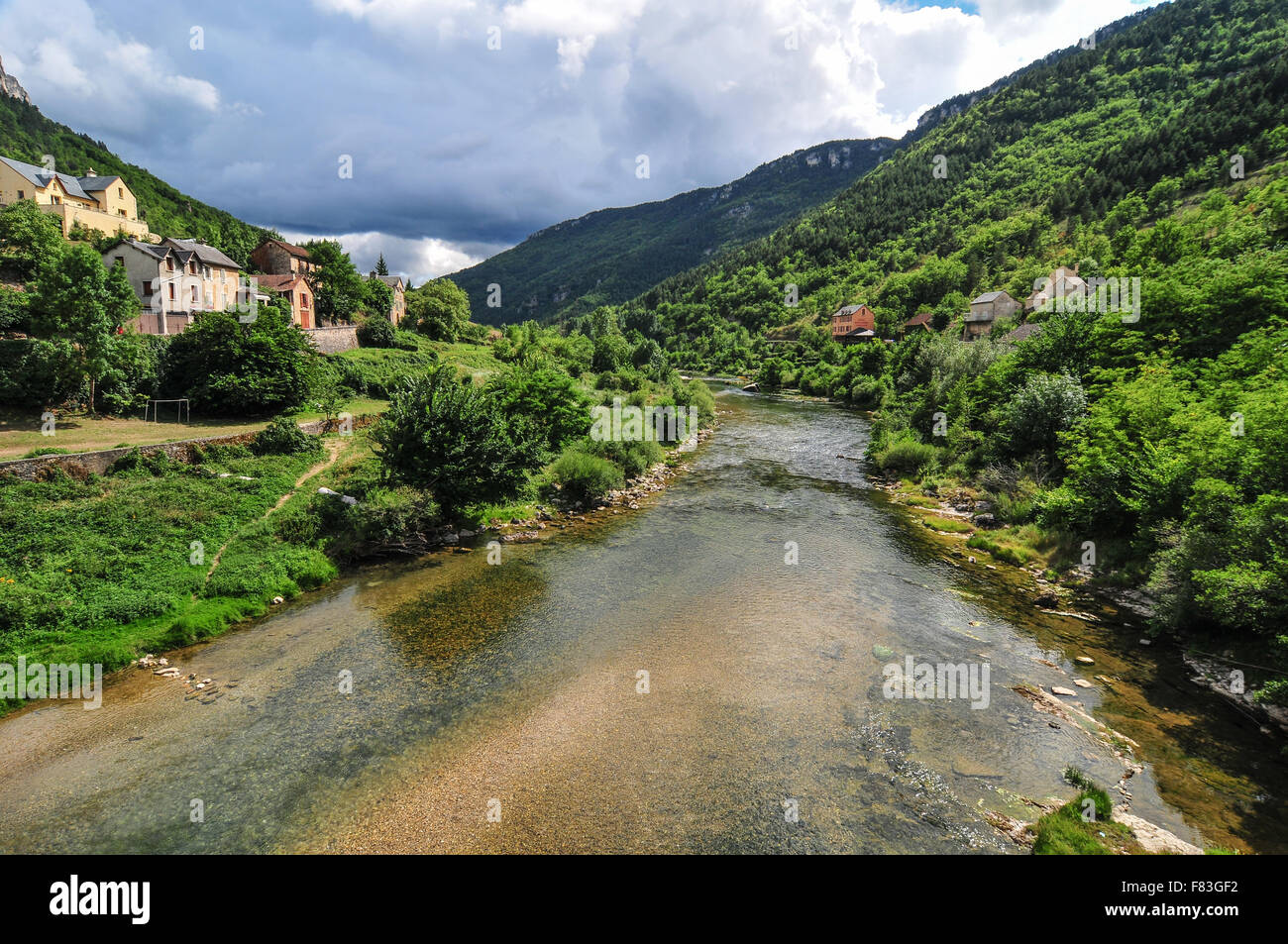 The surrounding rivers Le Jonte and Le Tarne within one of the most beautiful parts of France, Les Cevennes Provence - Stock Image