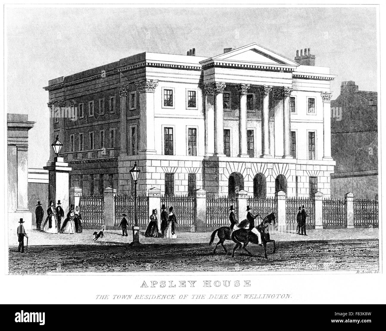 An engraving of Apsley House, The Town Residence of the Duke of Wellington scanned at high res from a book printed - Stock Image