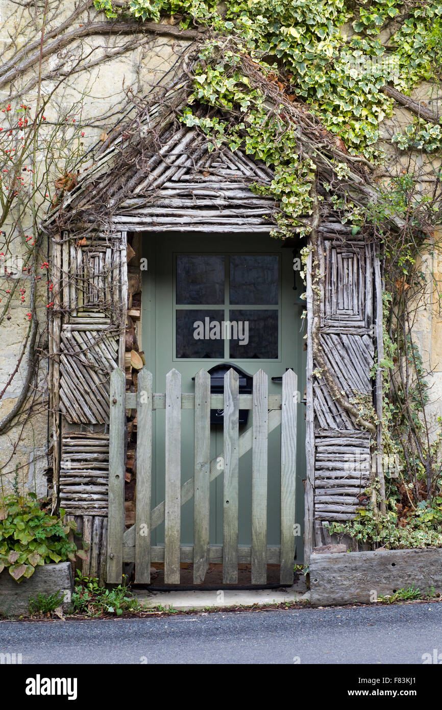 Rustic unique front doors on cottages in the cotswolds