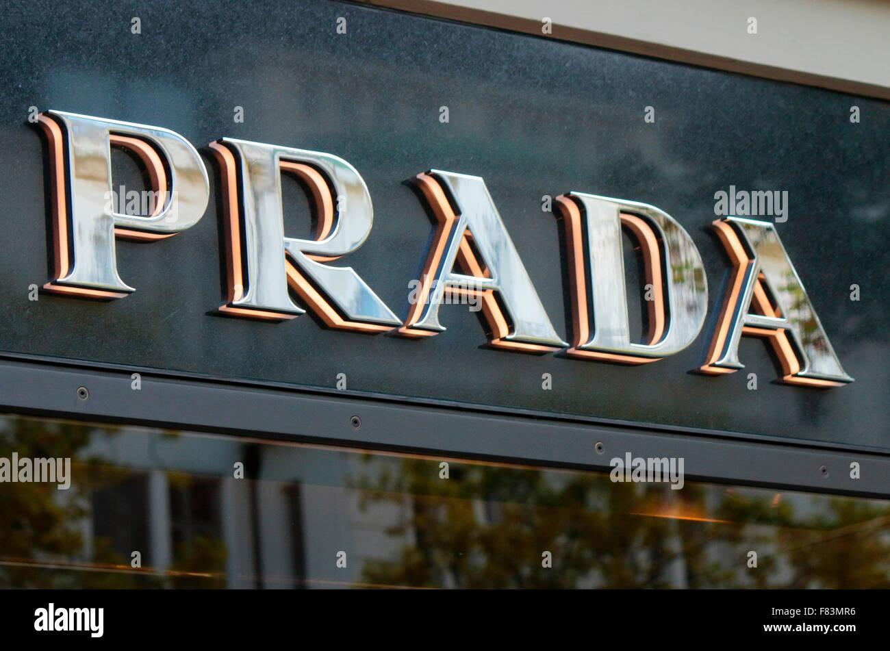 "Markennamen: ""Prada"", Berlin. Stock Photo"