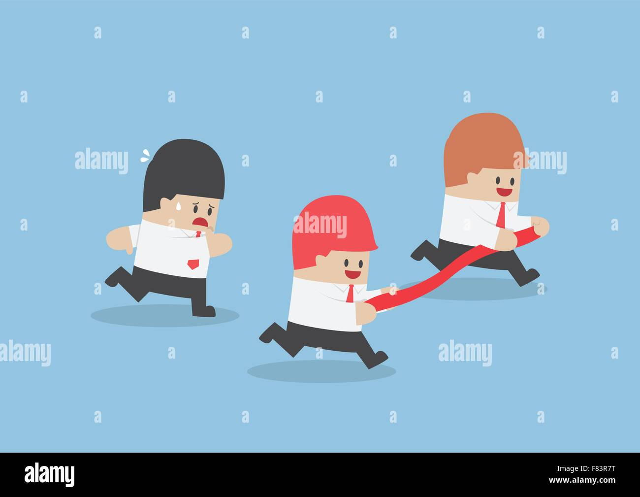 Businessman hold finish line away from his rival, VECTOR, EPS10 Stock Vector