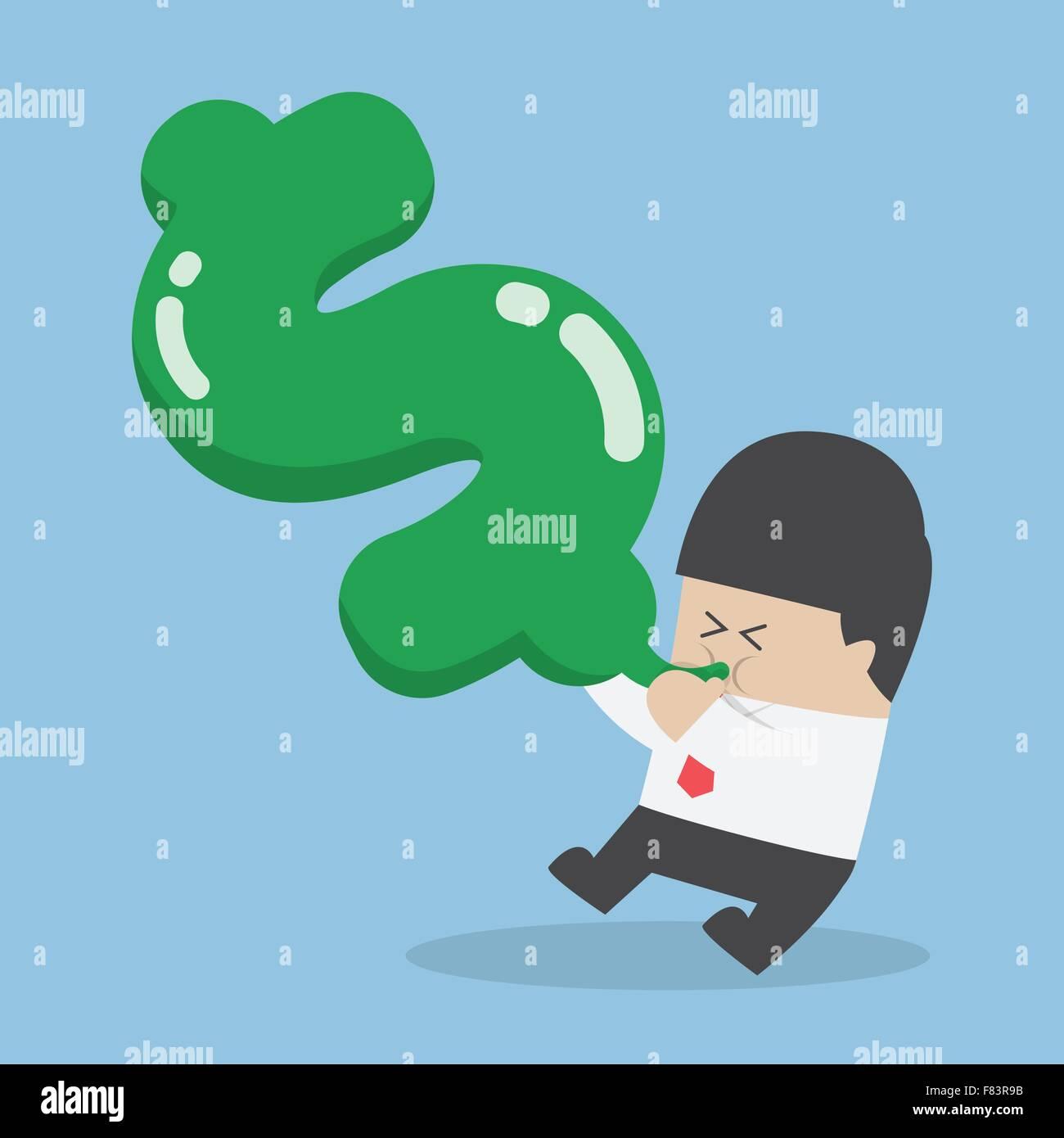 Businessman blowing air into dollar shape balloon, VECTOR, EPS10 - Stock Vector